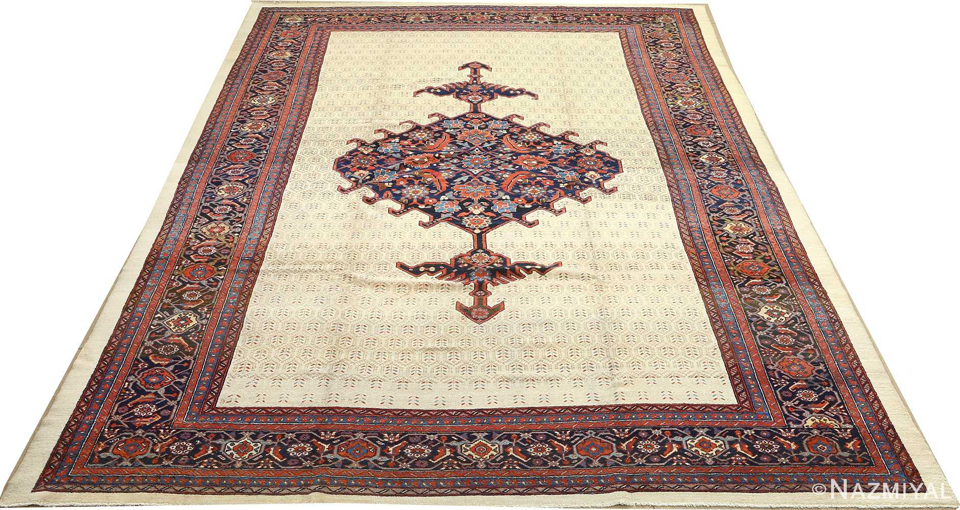 antique ivory senneh persian rug 51097 full Nazmiyal