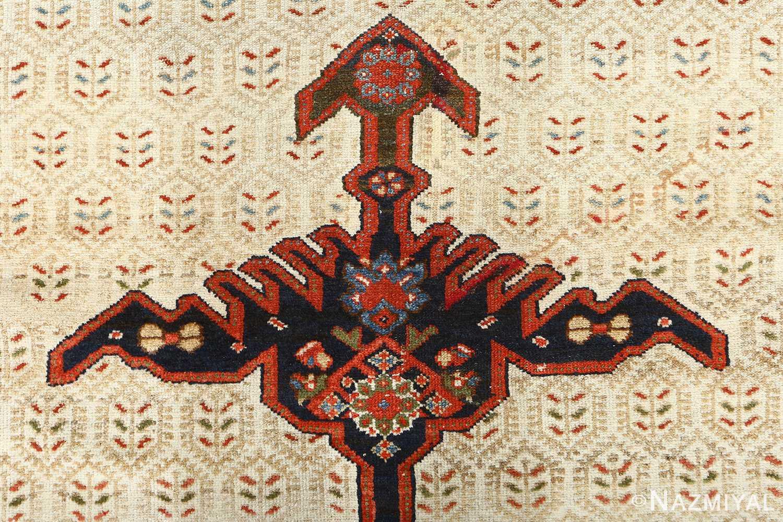 antique ivory senneh persian rug 51097 top Nazmiyal