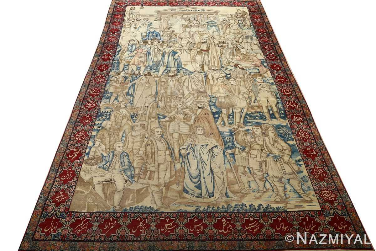 antique pictorial kerman persian rug 51099 darkside Nazmiyal