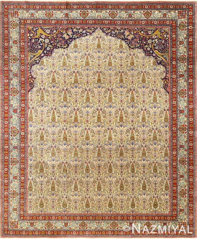 antique prayer design tabriz persian rug 51111 Nazmiyal