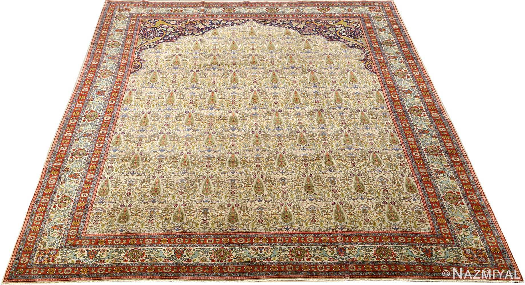 antique prayer design tabriz persian rug 51111 full Nazmiyal