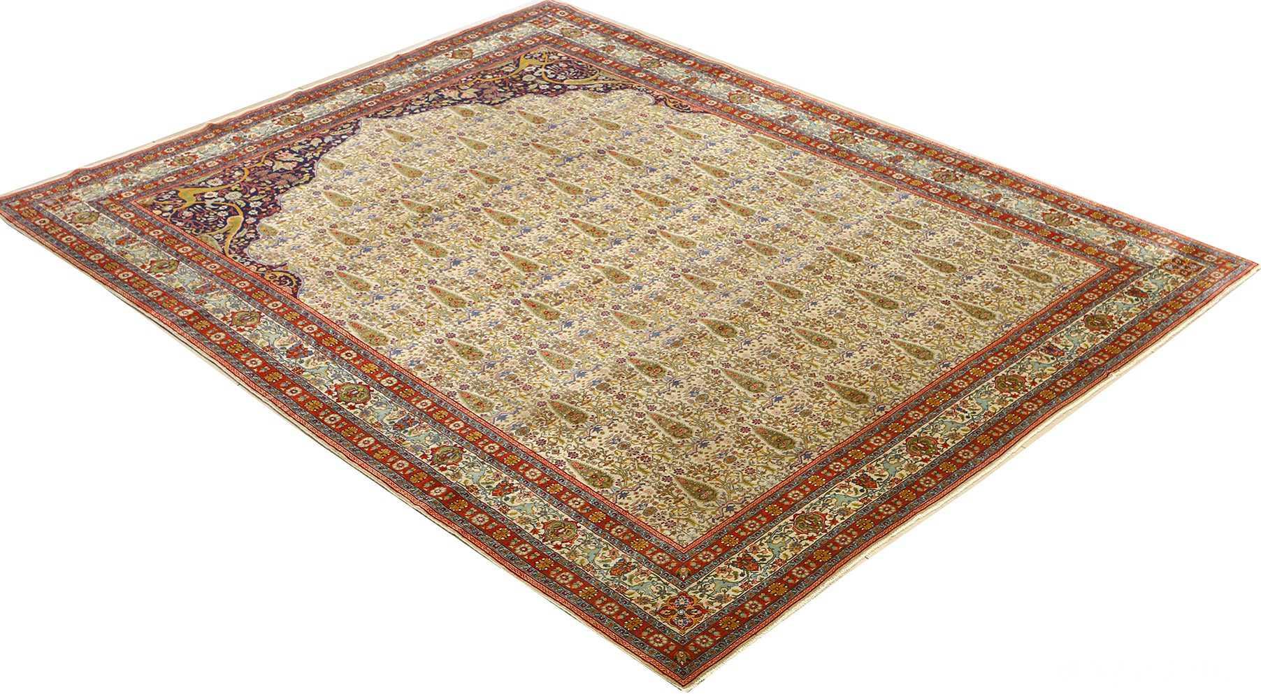 antique prayer design tabriz persian rug 51111 side Nazmiyal