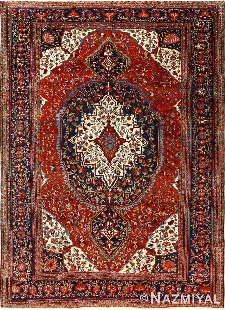 antique red background sarouk farahan persian rug 51095 Nazmiyal