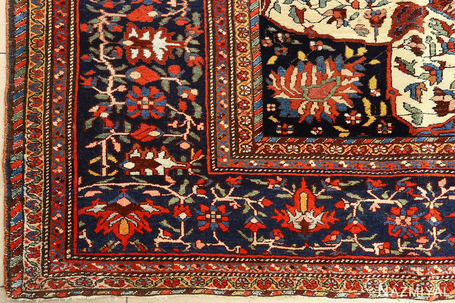 antique red background sarouk farahan persian rug 51095 corner Nazmiyal