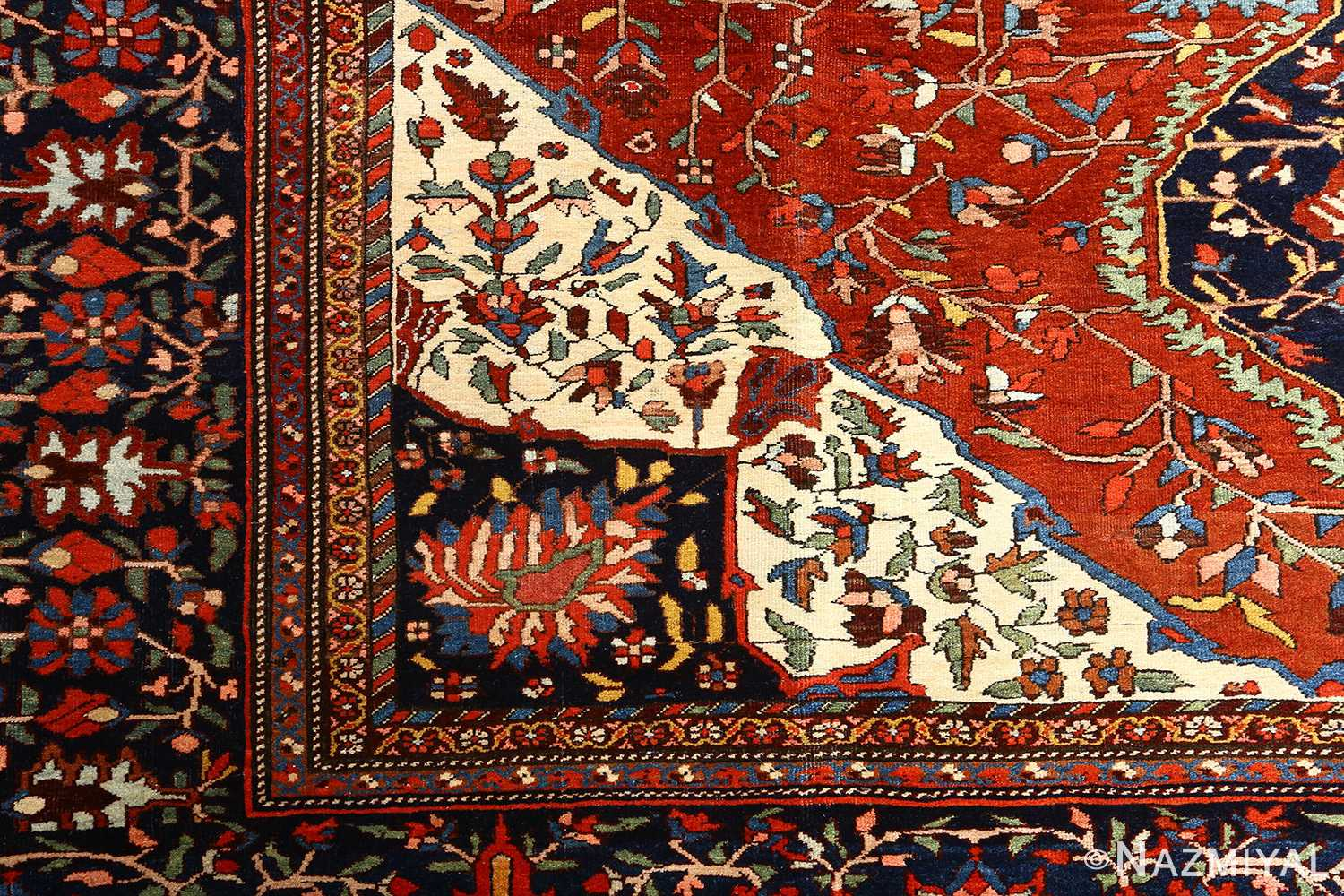 antique red background sarouk farahan persian rug 51095 design Nazmiyal