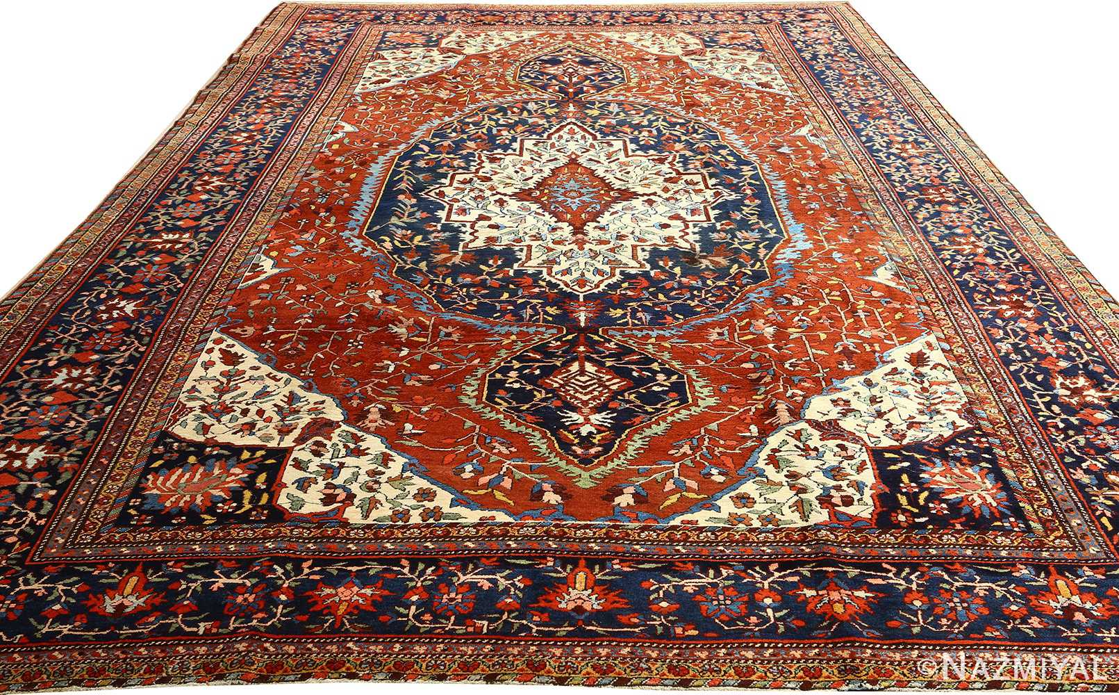 antique red background sarouk farahan persian rug 51095 full Nazmiyal