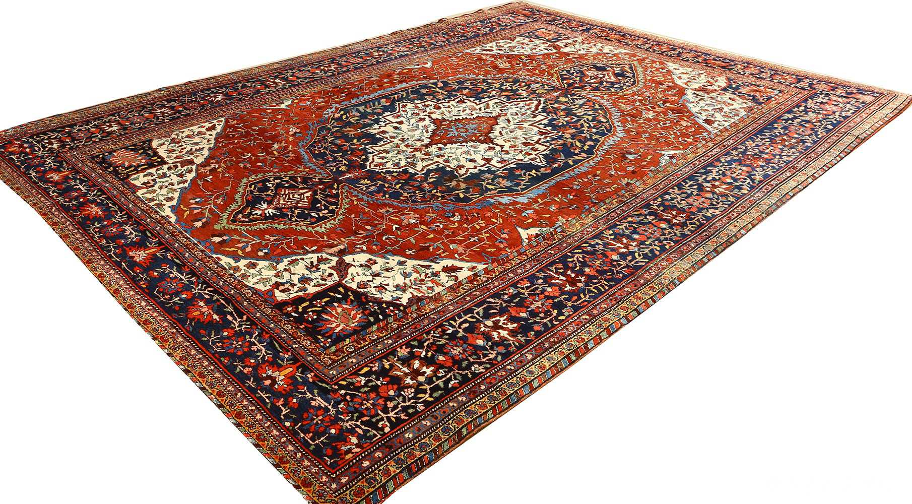 antique red background sarouk farahan persian rug 51095 side Nazmiyal