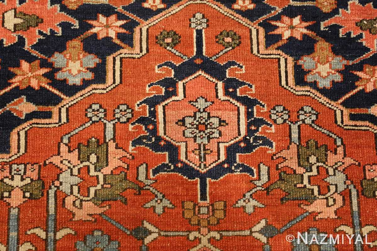 antique serapi persian rug 49273 flower Nazmiyal