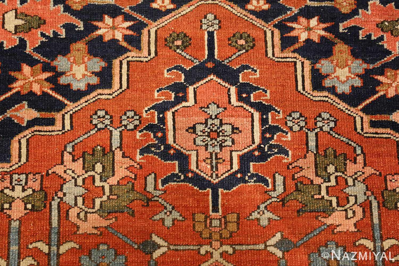 antique serapi persian rug 49273 flower Nazmiyal