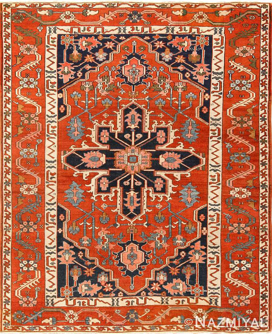 antique serapi persian rug 49273 Nazmiyal