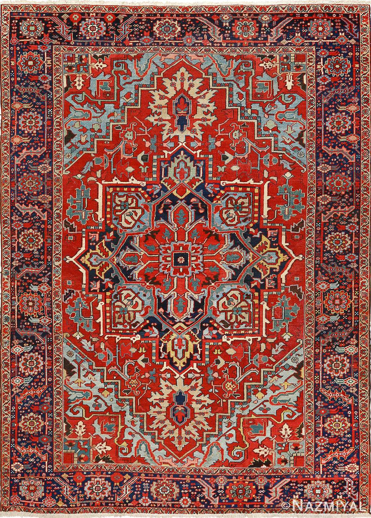 Beautiful Antique Heriz Serapi Persian Rug 51093 Nazmiyal Persian