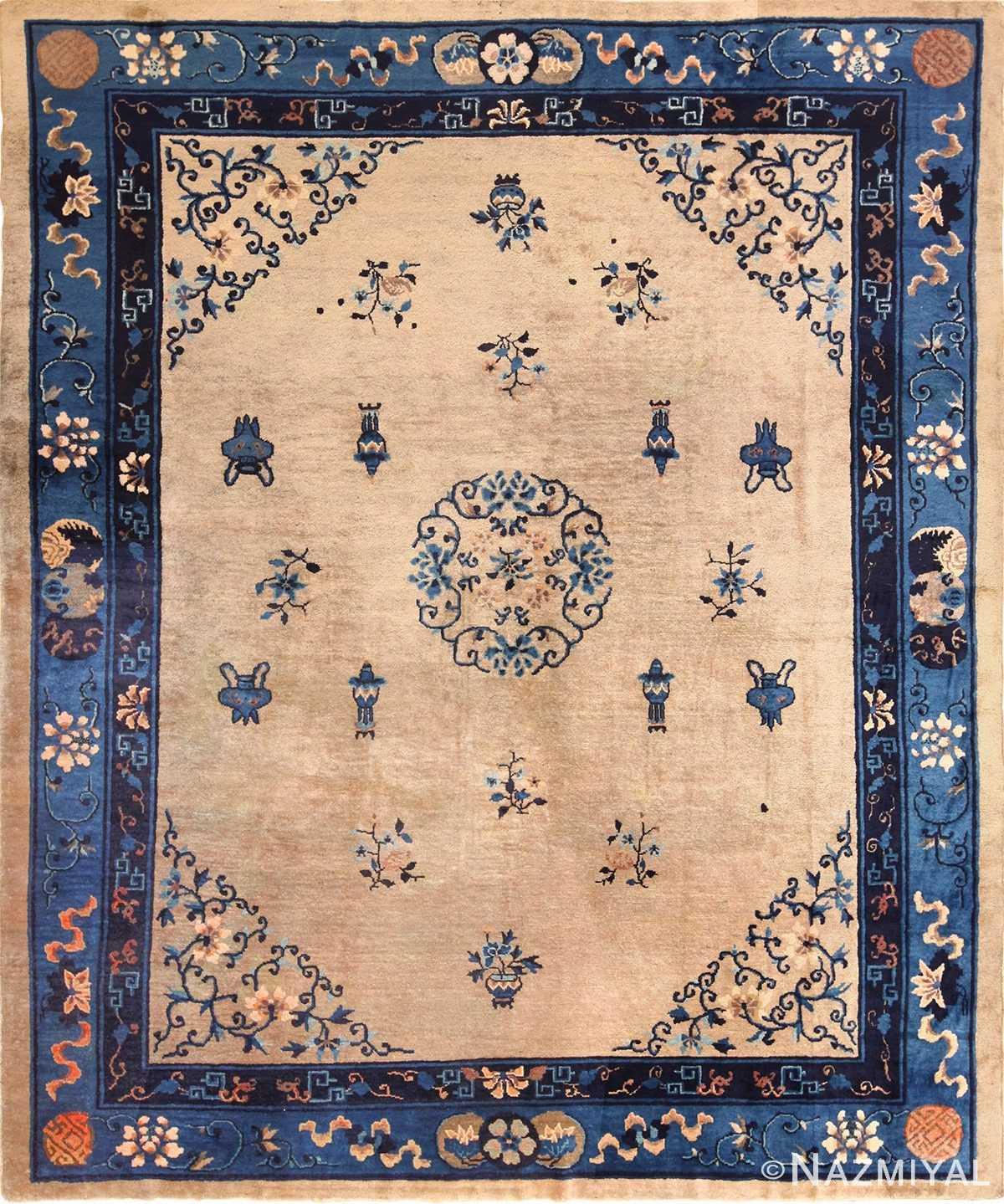 antique taupe background chinese rug 49235 Nazmiyal