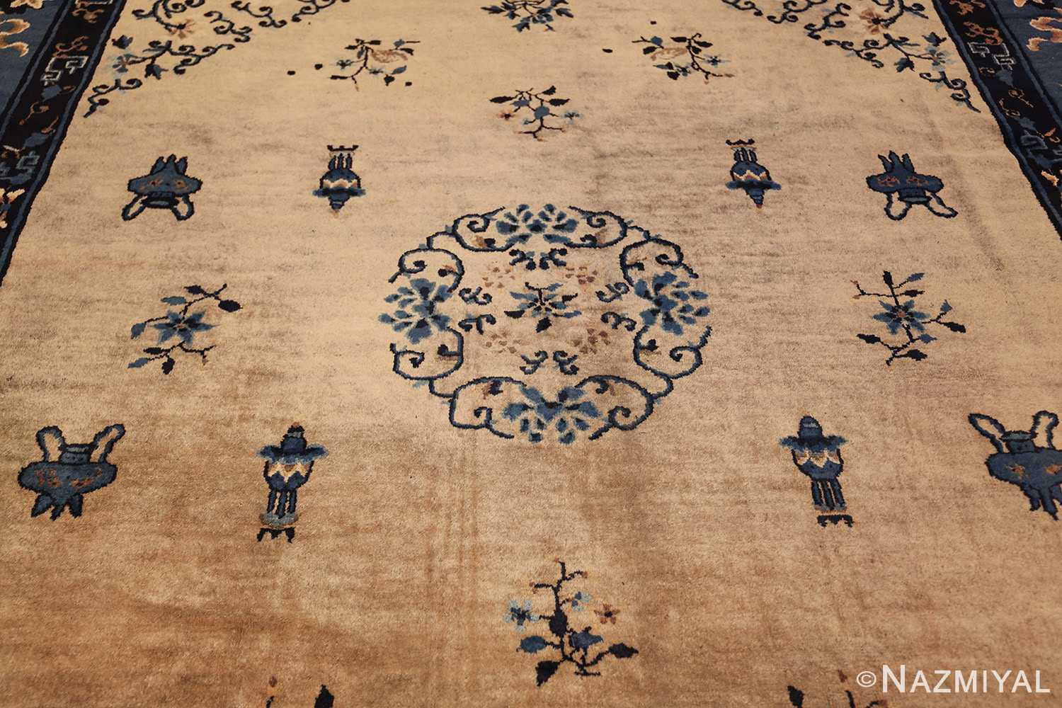 antique taupe background chinese rug 49235 field Nazmiyal