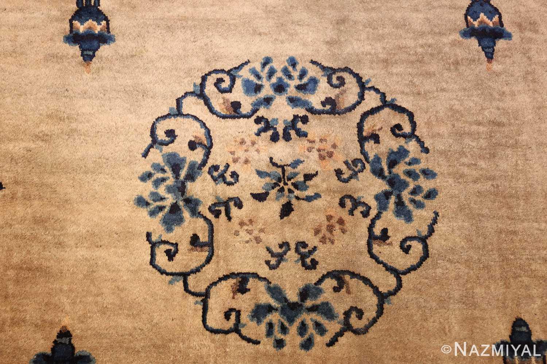antique taupe background chinese rug 49235 medallion Nazmiyal