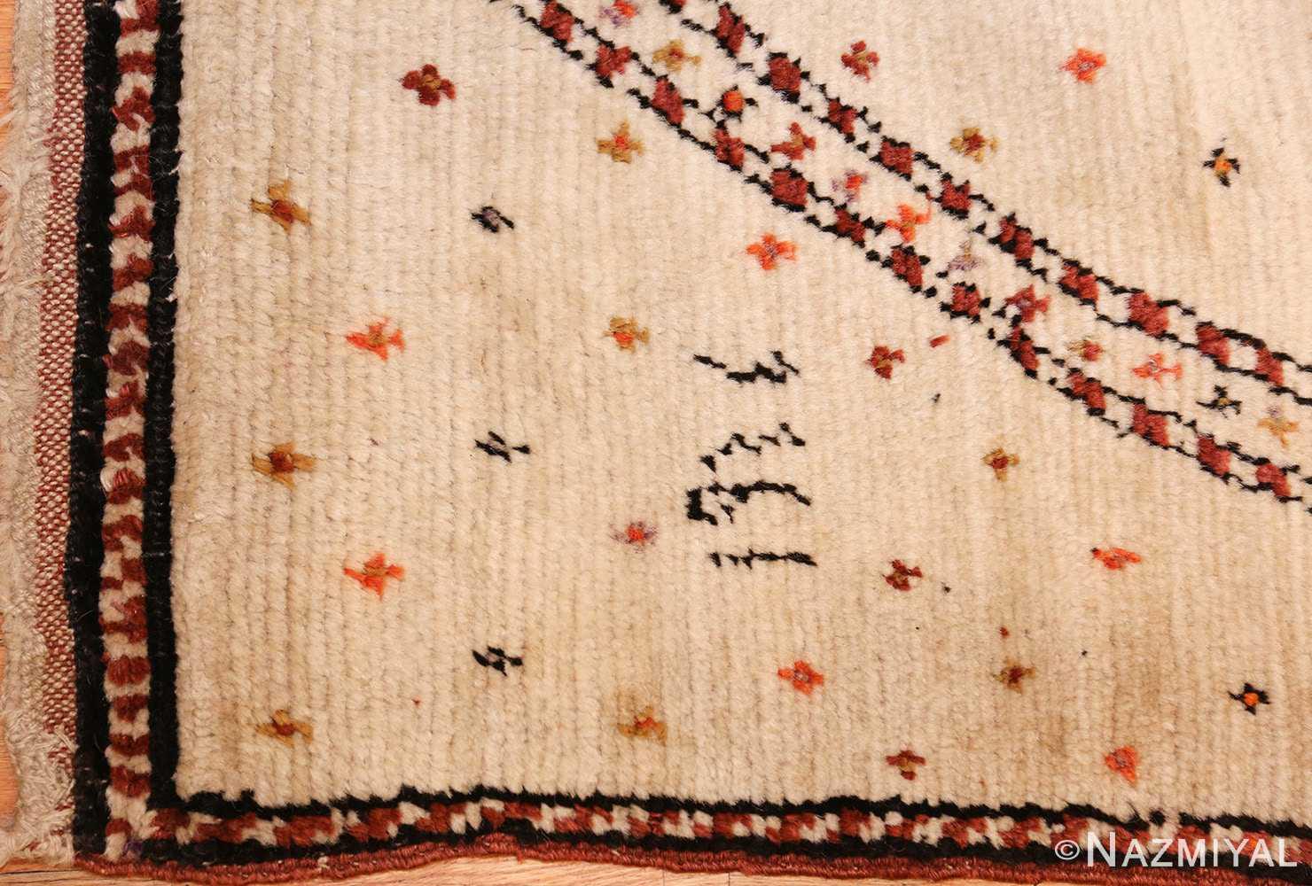 antique tribal persian gabbeh rug 49102 corner Nazmiyal