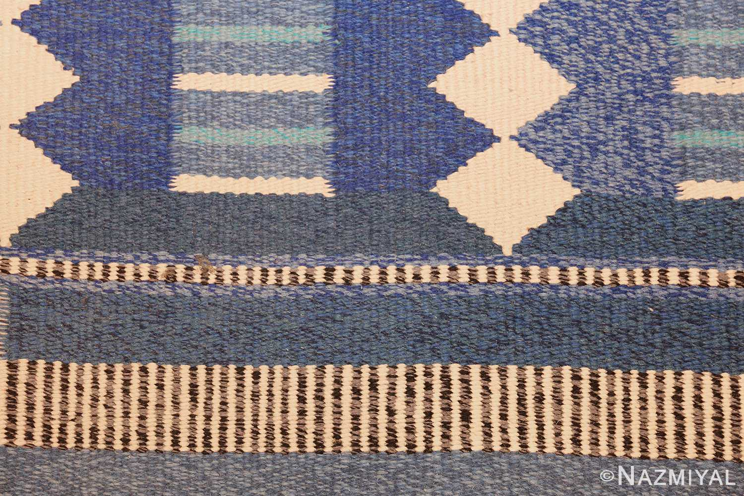 blue vintage swedish scandinavian kilim rug 49263 design Nazmiyal