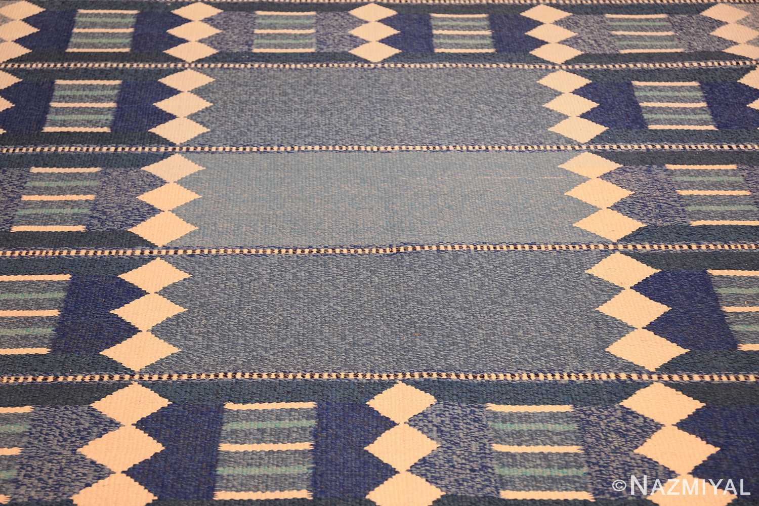 blue vintage swedish scandinavian kilim rug 49263 field Nazmiyal