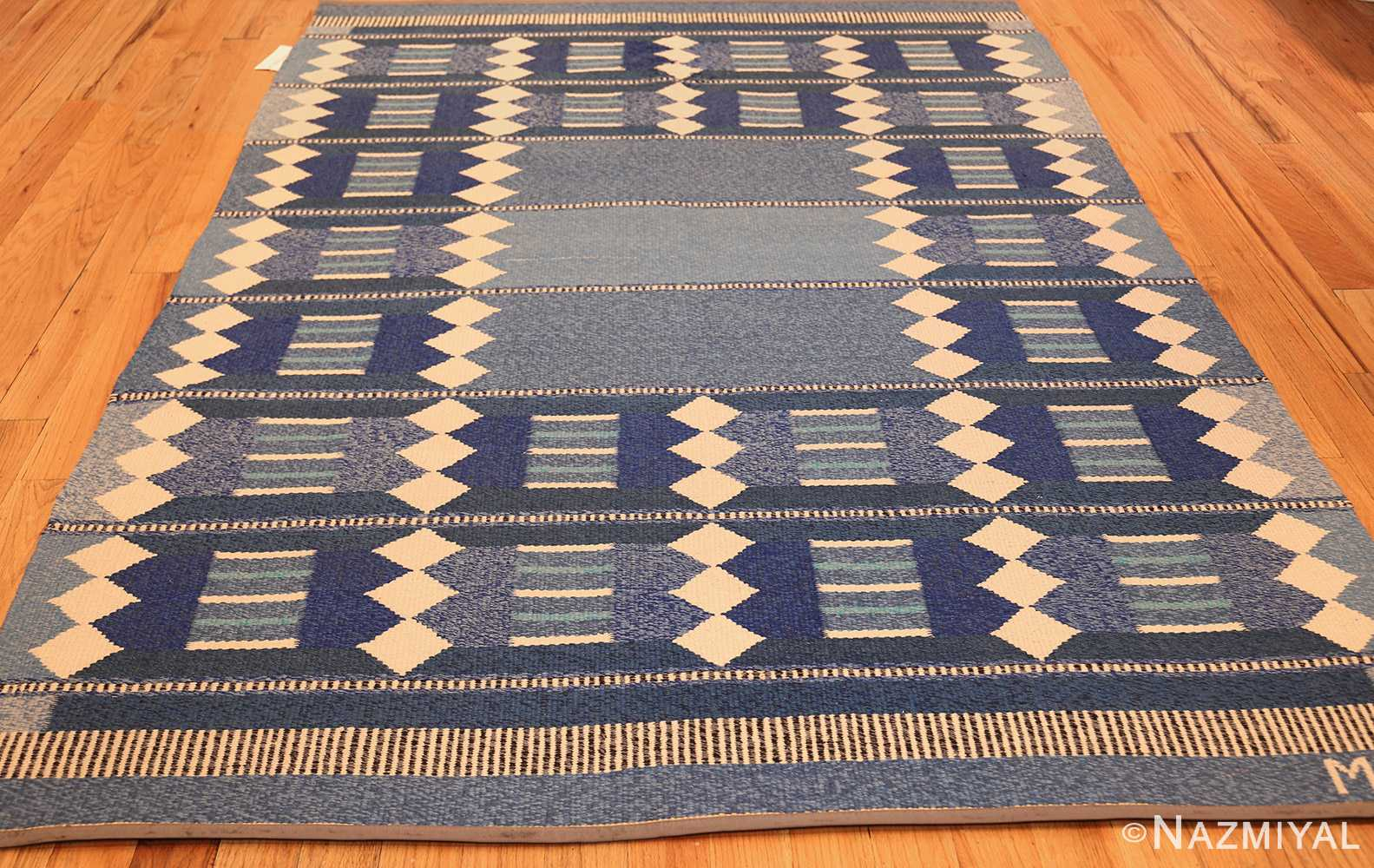 blue vintage swedish scandinavian kilim rug 49263 full Nazmiyal