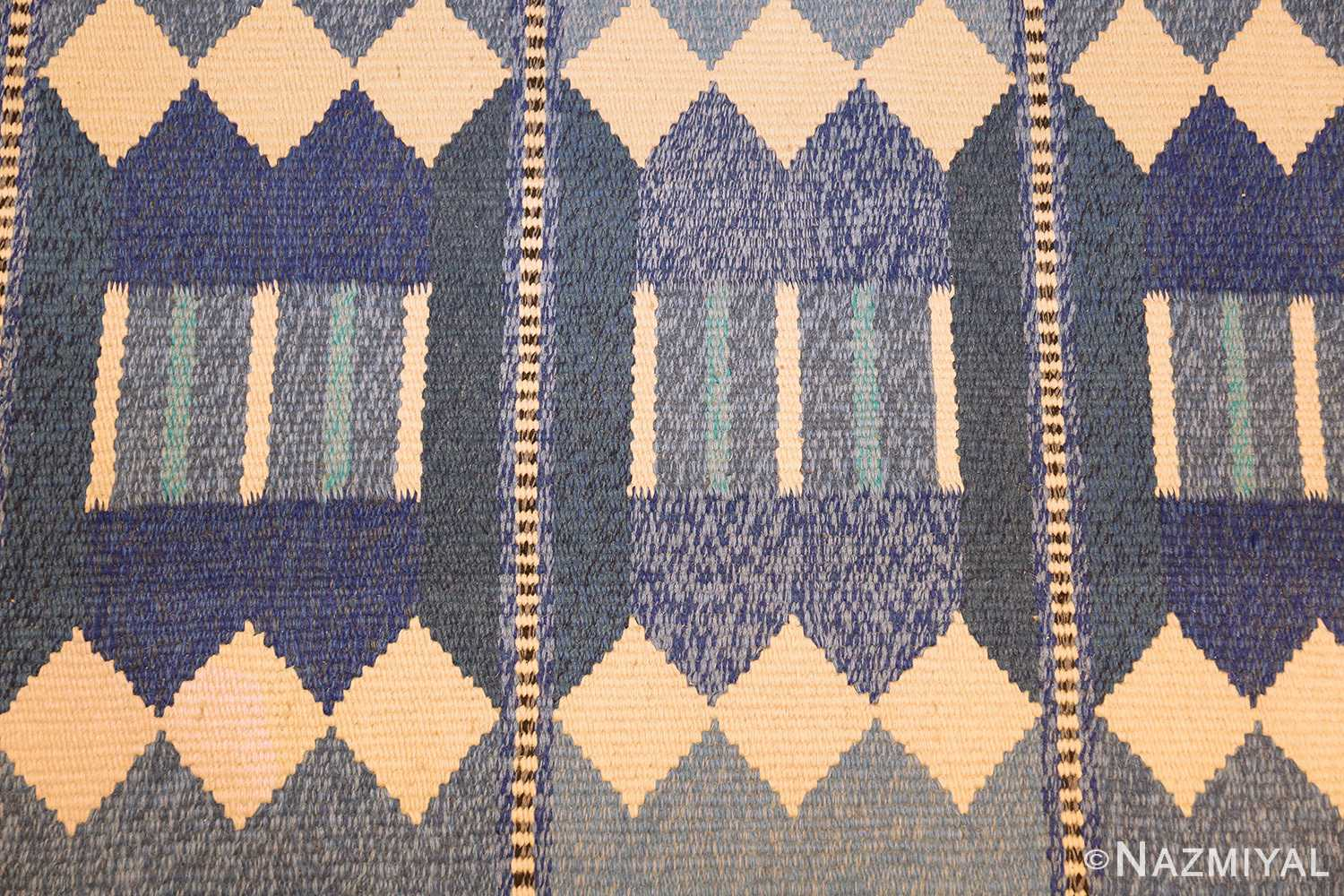 blue vintage swedish scandinavian kilim rug 49263 pattern Nazmiyal
