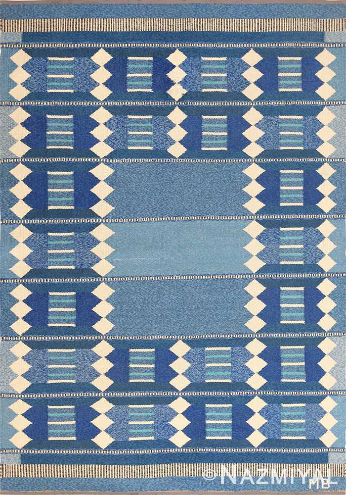 blue vintage swedish scandinavian kilim rug 49263 Nazmiyal