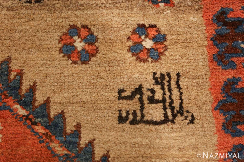 camel hair antique bakshaish runner rug 49277 signature Nazmiyal