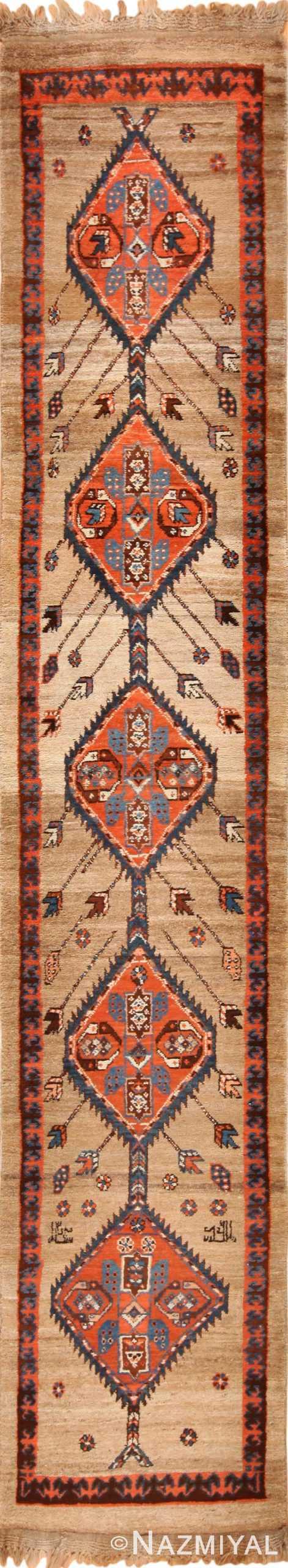 camel hair antique bakshaish runner rug 49277 Nazmiyal