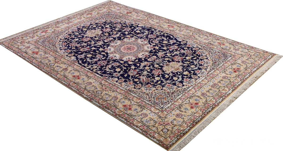 dark background vintage isfahan rug 51115 side Nazmiyal