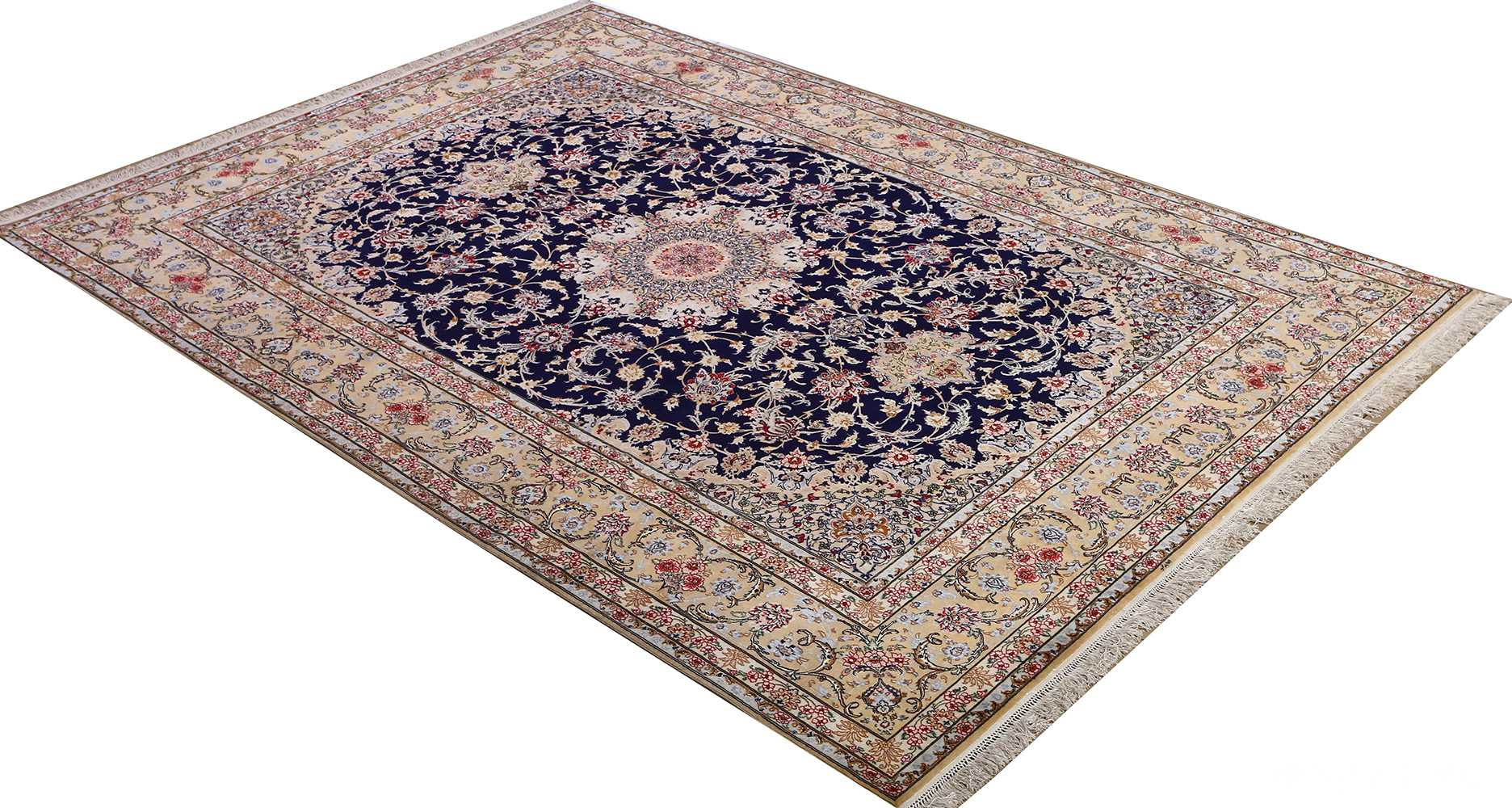 dark background vintage isfahan rug 51115 side Nazmiyal