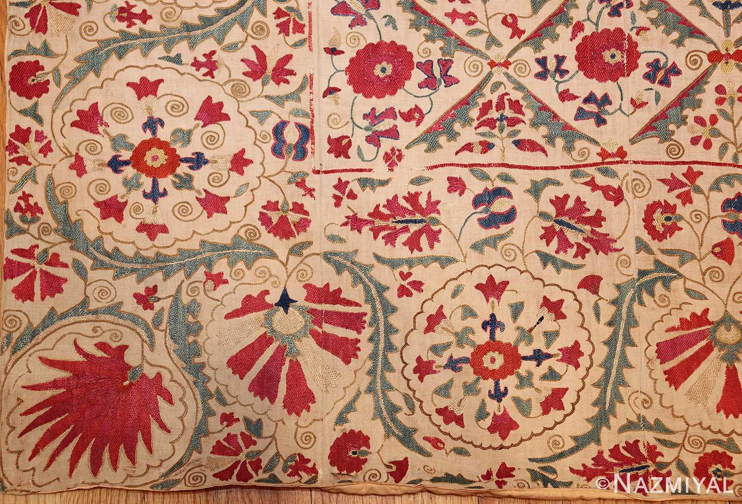 early 19th century suzani uzbek textile 49254 corner Nazmiyal