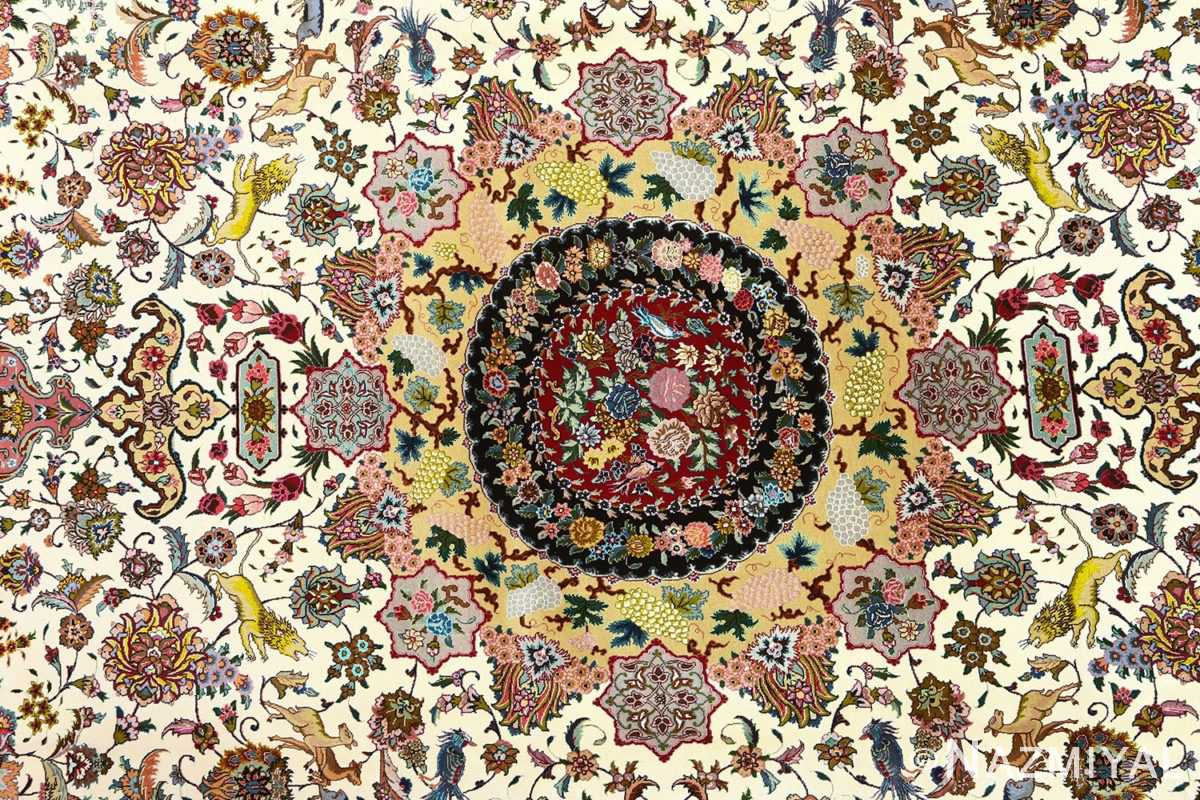fine animal motif vintage tabriz persian rug 51073 medallion Nazmiyal