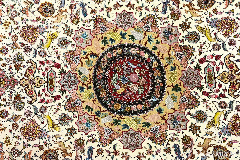 fine animal motif vintage tabriz persian rug 51073 medallion Nazmiyal