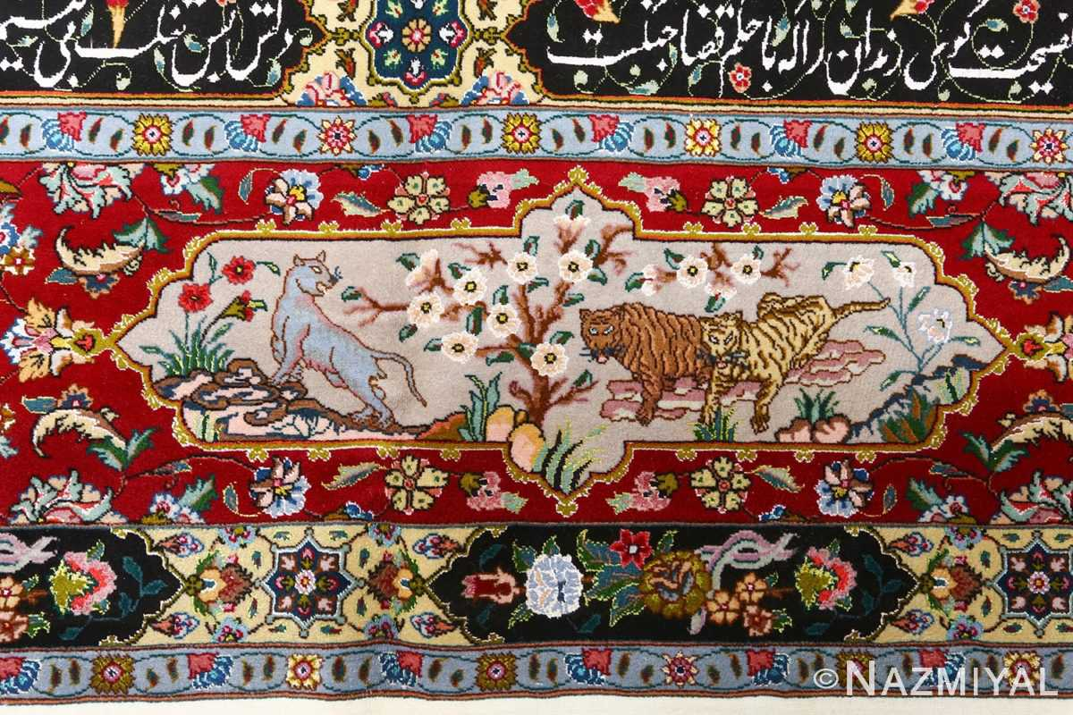 fine animal motif vintage tabriz persian rug 51073 tigers Nazmiyal