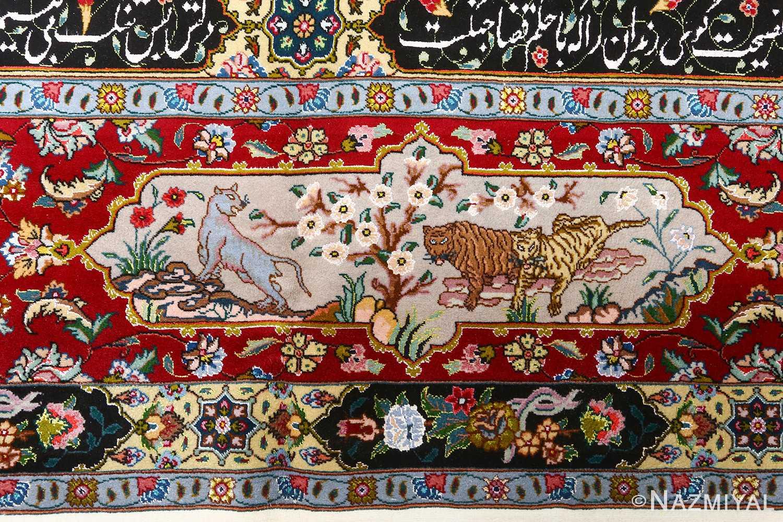 fine animal motif vintage tabriz persian rug 51073 tigers Nazmiyal