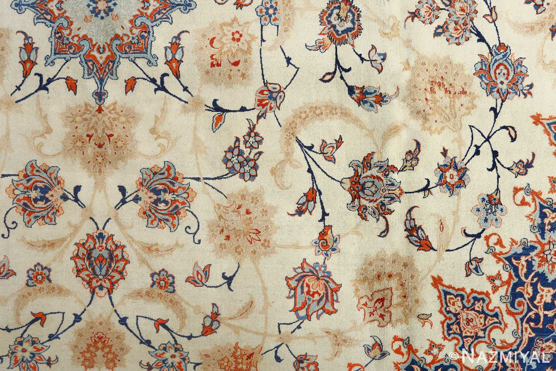 fine ivory background vintage isfahan persian rug 51078 field Nazmiyal