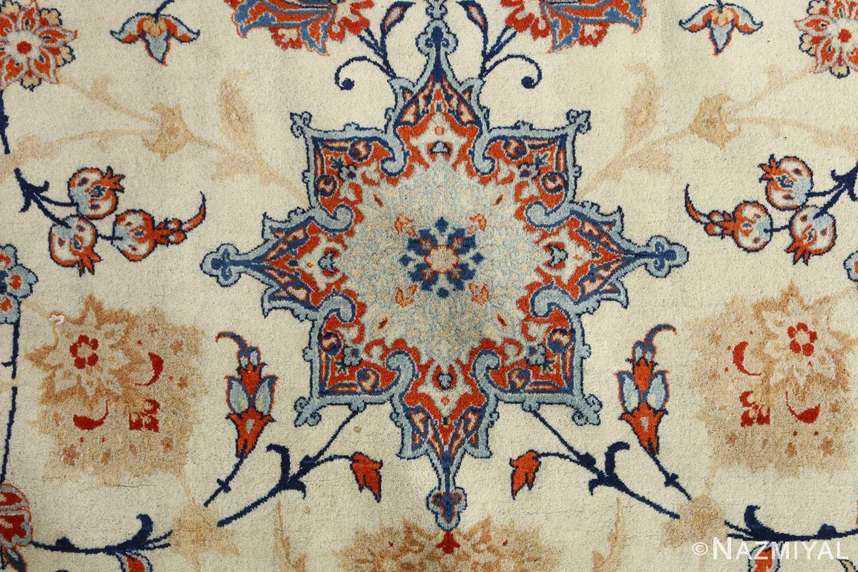 fine ivory background vintage isfahan persian rug 51078 flower Nazmiyal