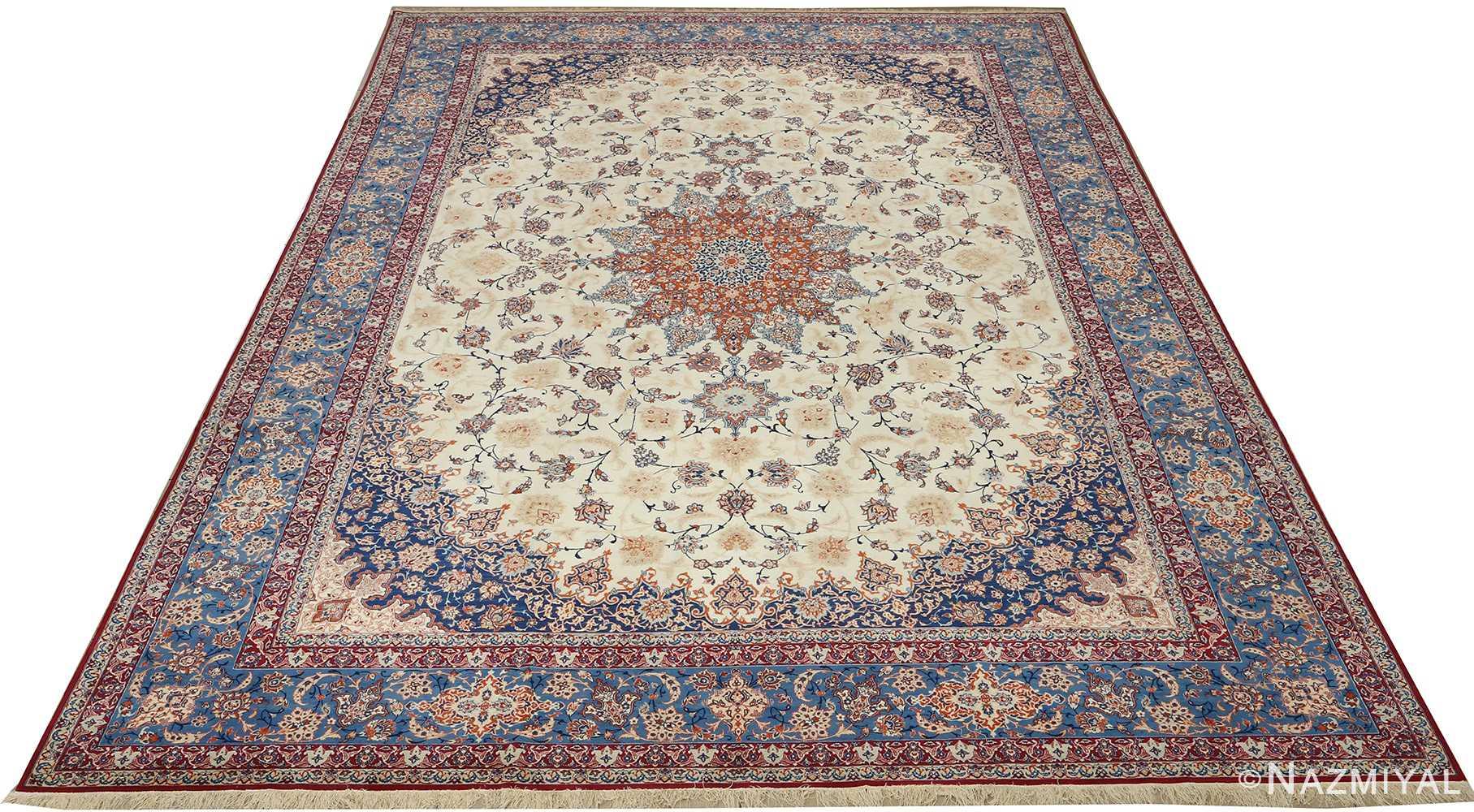 fine ivory background vintage isfahan persian rug 51078 full Nazmiyal