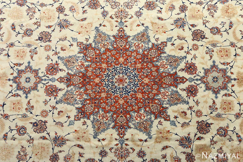 fine ivory background vintage isfahan persian rug 51078 medallion Nazmiyal