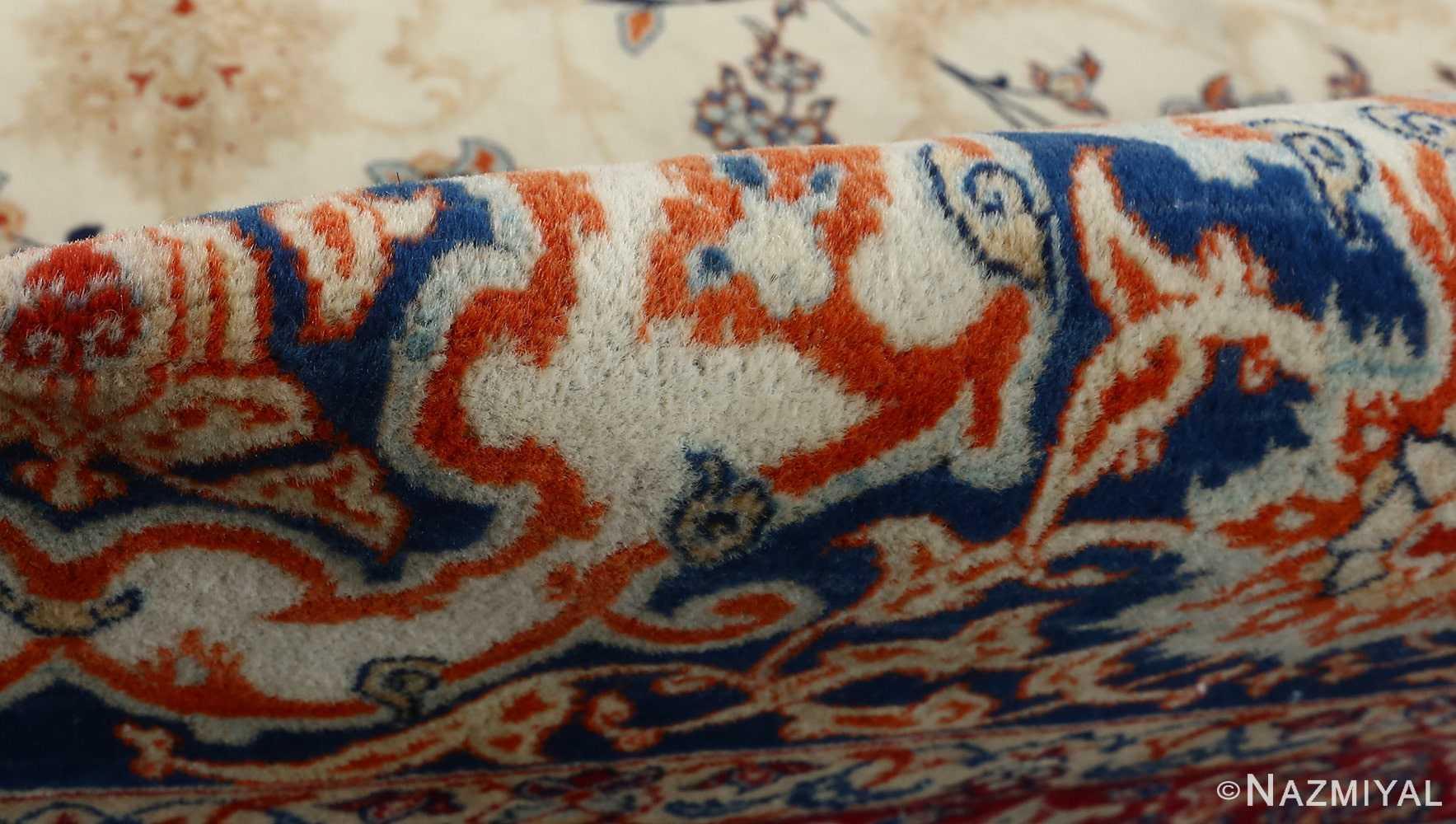 fine ivory background vintage isfahan persian rug 51078 pile Nazmiyal