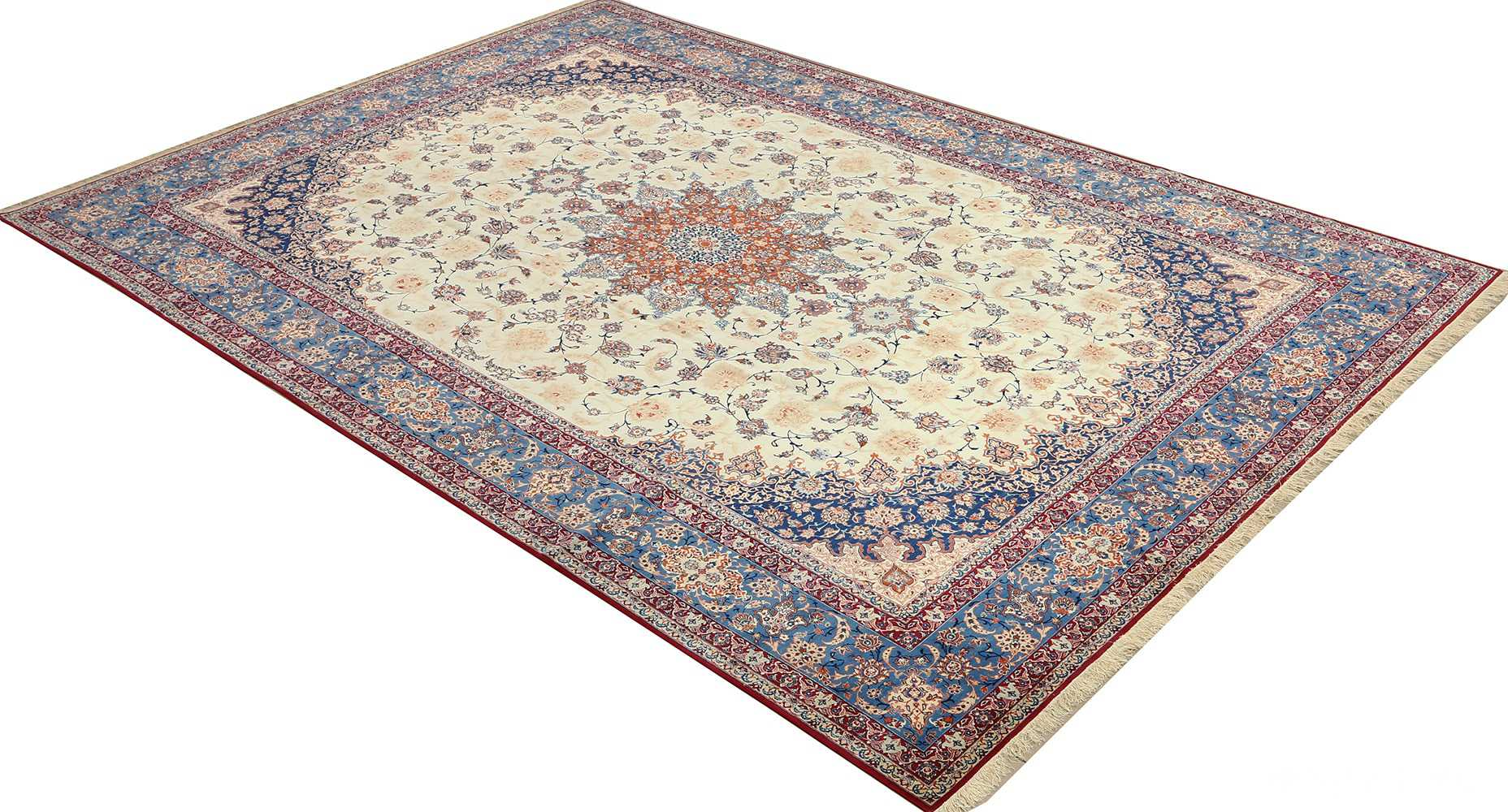 fine ivory background vintage isfahan persian rug 51078 side Nazmiyal