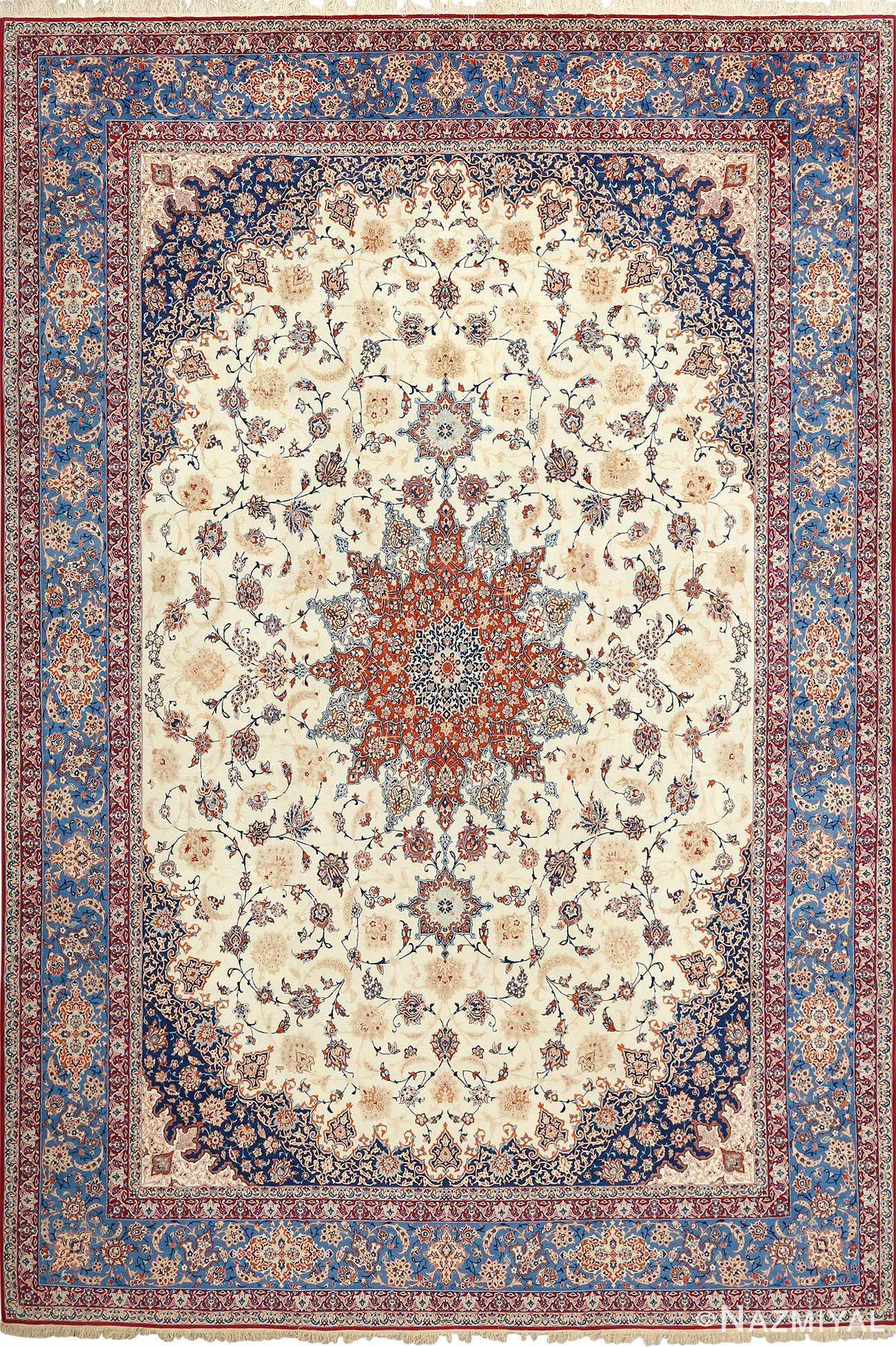 fine ivory background vintage isfahan persian rug 51078 Nazmiyal
