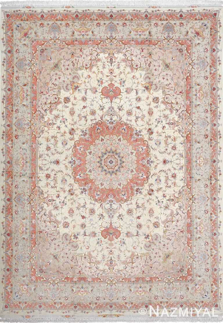 fine ivory background vintage tabriz persian rug 51072 Nazmiyal