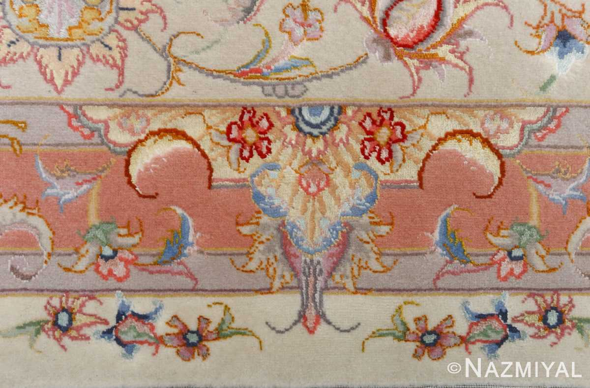 fine ivory background vintage tabriz persian rug 51072 border Nazmiyal