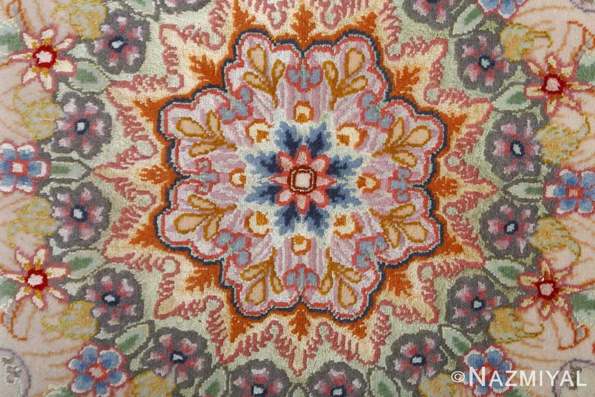 fine ivory background vintage tabriz persian rug 51072 center Nazmiyal