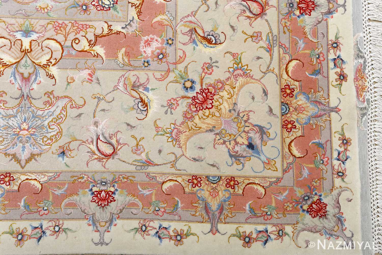 fine ivory background vintage tabriz persian rug 51072 corner Nazmiyal