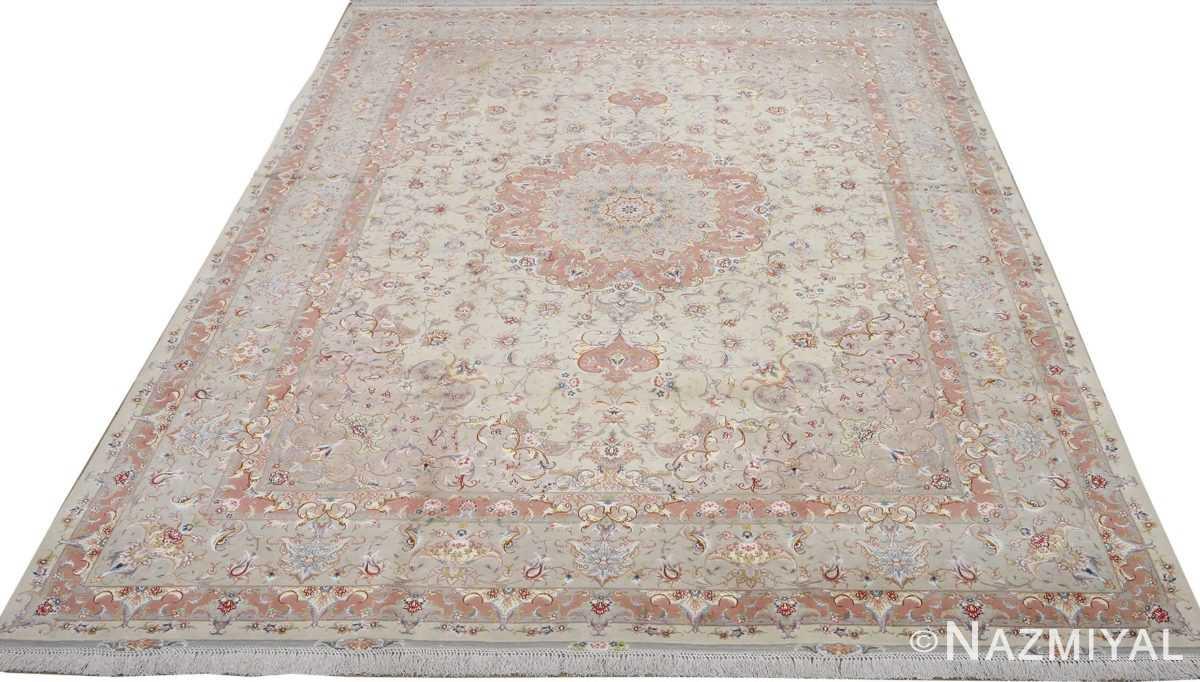fine ivory background vintage tabriz persian rug 51072 full Nazmiyal
