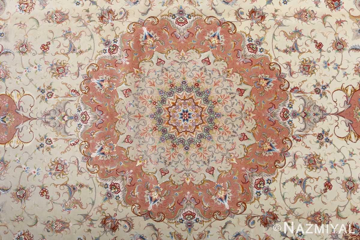 fine ivory background vintage tabriz persian rug 51072 medallion Nazmiyal