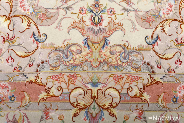 fine ivory background vintage tabriz persian rug 51072 pattern Nazmiyal