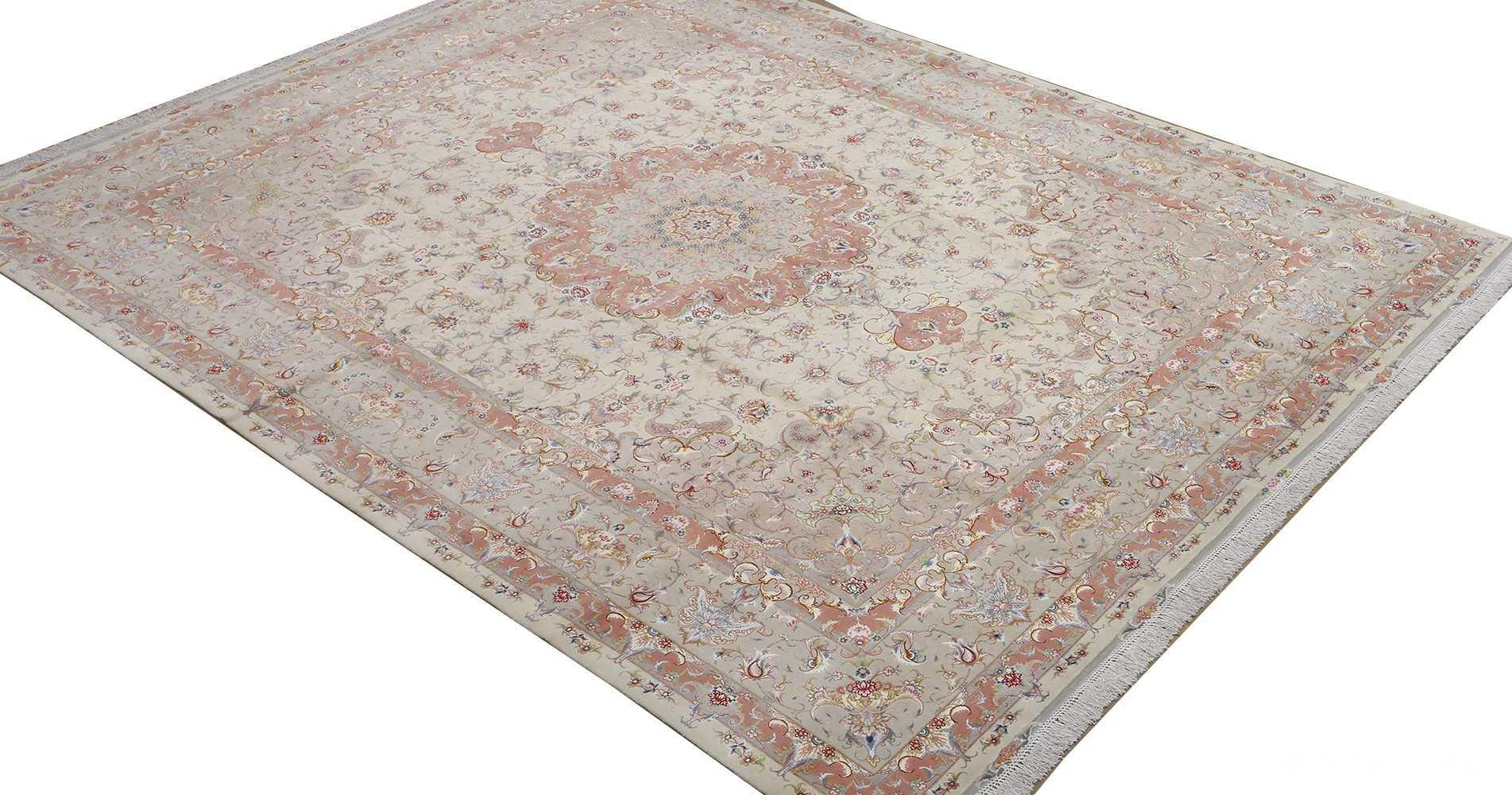 fine ivory background vintage tabriz persian rug 51072 side Nazmiyal