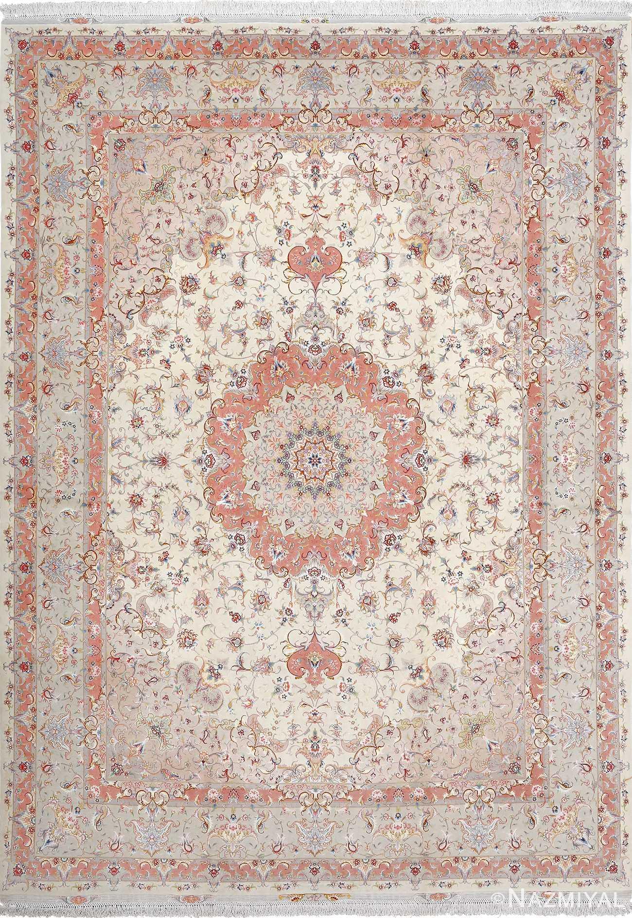 fine ivory background vintage tabriz persian rug 51072 Nazmiyal