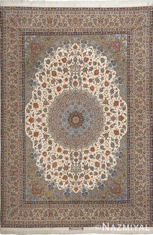 fine ivory vintage isfahan persian rug 51089 Nazmiyal